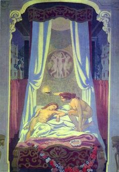 """Maurice Denis """" 1908-9 Panel 3. Psyche Discovers her Mysterious Lover is Cupid oil on canvas"""""""
