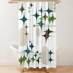 Retro Shower Curtain, Modern Shower Curtains, Fabric Shower Curtains, Midcentury Fabric, Midcentury Modern, Retro Bathrooms, Upstairs Bathrooms, Atomic Decor, Bark Cloth