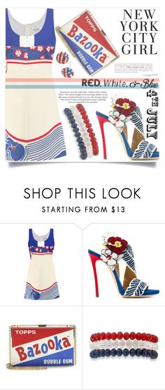 """""""July 4th Red White and Blue Fashion"""" by aislinnhamilton1993 ❤ liked on Polyvore featuring Carven, Dsquared2, H&M, Anya Hindmarch, Kim Rogers, USA, redwhiteandblue and july4th"""