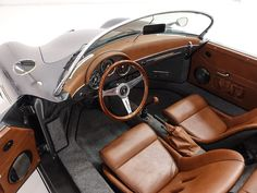 The 1957 Porsche 356 Speedster Replica featured here is finished in gorgeous Slate Gray with a beautiful Sable Brown interior. This magnificent 356 Speedster has been driven just 1,484 miles from new and was built...