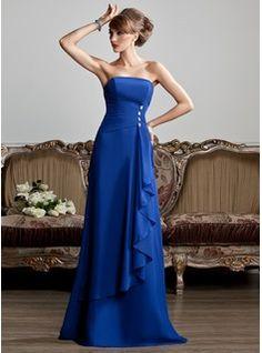 A-Line/Princess Strapless Floor-Length Chiffon Evening Dress With Ruffle Beading (017013808)