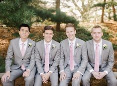 Pink ties with grey suits