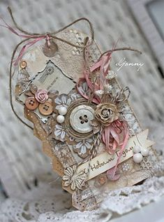 Gorgeous mixed media tag with bling!