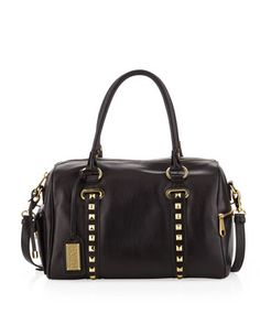 Paula Studded Leather Satchel, Black by Badgley Mischka at Neiman Marcus Last Call.