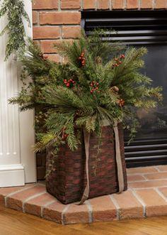 basket of evergreens