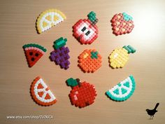 Fruit Magnets Set of 10 made from Hama Beads by ZUZKICA on Etsy