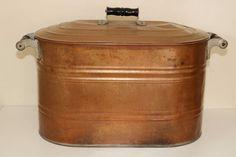 $127.98.....Antique Large Copper Wash Tub Boiler with Black Wood Handles & Lid | #1850588760