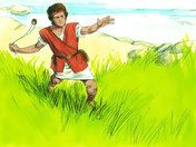 Free Bible illustrations at Free Bible images of young David, believing God will bring him victory, taking on the Philistine giant Goliath. (I Samuel 17:1-58)
