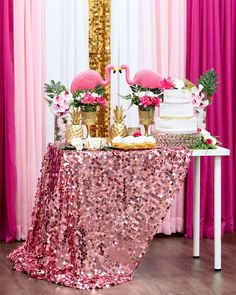 Pink and Gold Tropical Birthday Party Decorations Pink Flamingo Party, Flamingo Baby Shower, Flamingo Birthday, Hawaiian Birthday, Luau Birthday, Birthday Parties, Christmas Balls Diy, Shirt Diy, Glitter Shirt