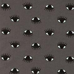 Stretch-Jersey, Dunkelgrau mit Augen