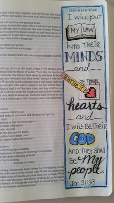 The law will be written in their hearts . Scripture Journal, Scripture Art, Bible Art, Lds Scriptures, Bible Verses Quotes, Quick View Bible, Bible Drawing, Jeremiah 31, Planner Doodles