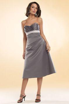 Sweetheart satin bridesmaid dress with empire waist
