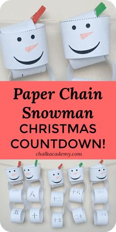 Paper chain snowman Christmas countdown - free printable advent activity for kids in English, Chinese, and Korean Countdown For Kids, Advent For Kids, Christmas Countdown, Christmas Snowman, Family Christmas, Winter Christmas, Christmas Crafts, Holiday, Advent Activities