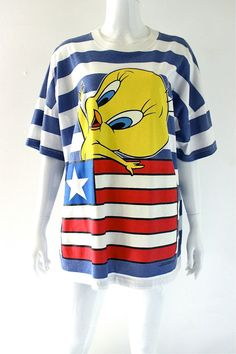 vintage 90s Oversize TWEETY BIRD Striped USA american by hella90s, $28.00