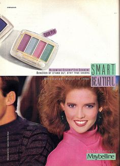 lavender and seafoam (or mint) color combo ruled the later along with that hot pink shes wearing. 1980s Makeup, Makeup Ads, Retro Makeup, Vintage Makeup, Vintage Beauty, Vintage Ads, Maybelline Eyeshadow, Pink Eyeshadow, 80s Ads