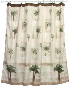 shower curtain is made of polyester features a heat transferred palm print and measures x coordinates with citrus palm bath accessories