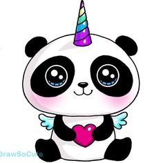 kawaii unicorn panda so lovable Kawaii Girl Drawings, Cute Animal Drawings Kawaii, Cute Easy Drawings, Cartoon Drawings, Easy Animal Drawings, Panda Kawaii, Kawaii Art, Kawaii Anime, Kawaii Doodles