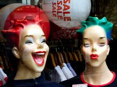 "Laughing Laura and Prucilla Pucker! ""These two delightful mannequin heads were in a charity shop window in Cambridge – the names are my invention, selected to go with the kitsch, cartoonish styling."""