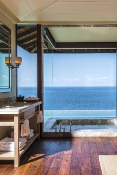 Try to find a more impressive powder room view! Four Seasons Resort Seychelles (Mahe Island, Seychelles) - Jetsetter