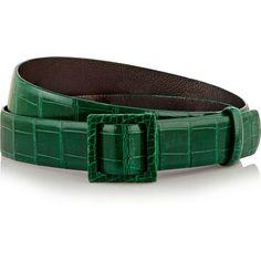 Oscar de la Renta Alligator waist belt ($476) ❤ liked on Polyvore featuring accessories, belts, green, oscar de la renta belt, green belt, oscar de la renta and alligator belt