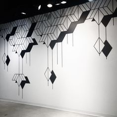 I believe this wall mural to be simplistic and uses shapes to create a visually appealing design. I believe my group can draw inspiration from this mural to create a simplistic wall mural design if we were to pick a simplistic theme. Simple Wall Paintings, Wall Painting Decor, Wall Decor, Tape Wall Art, Diy Wall Art, Cafe Wall, Mural Cafe, Wall Drawing, Wall Patterns