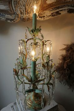 Mint green candelabra table lamp shabby cottage chic hand painted distressed accent lighting ornate crystals w/ swag anita spero design