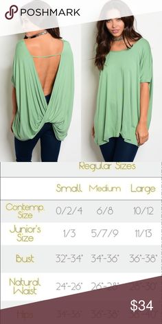 Green Backless Short Sleeve Wrap Top New with tags. Adorable open back top.                                                                  95% rayon, 5% spandex.                                                     Made in USA.                                                                                    ❌SORRY, NO TRADES. The O Boutique Tops Blouses