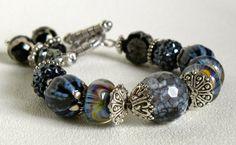 Lampwork Bead Handmade Beaded Bracelet by bdzzledbeadedjewelry Handmade Beaded Jewelry, Unique Jewelry, African Beads, Lampwork Beads, Silver Beads, Seed Beads, Agate, Beaded Bracelets, Beadwork