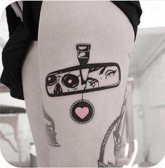 Mirror skull tattoo
