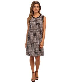 Calvin Klein Calvin Klein  Printed Rib Trim Dress Beige Windowpane 2941 Womens Dress for 77.99 at Im in!
