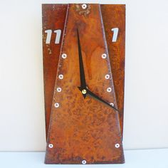 Leaning Desk Clock III Rusted by All15Designs on Etsy