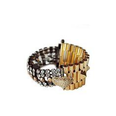 Iosselliani Chettah Head Dirty Crystal Bracelet ($330) ❤ liked on Polyvore featuring jewelry, bracelets, charm jewelry, iosselliani jewelry, clasp charms, crystal jewellery and crystal stone jewelry