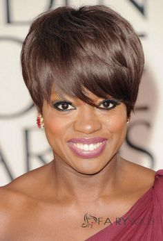 Attractive Short Straight Brown African American Wigs for Women