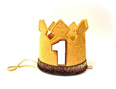 First Birthday Crown Gold and White Cake Smash