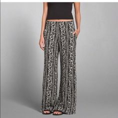 NWT A&F printed wide leg pant! NWT A&F black and white printed wide leg pant! Side zipper. I bought it to go with the black crochet lace crop top (also listed!). 50% OFF! Let me know if you have questions! Make me an offer I can't refuse  No trades, I'm sorry! Abercrombie & Fitch Pants Wide Leg