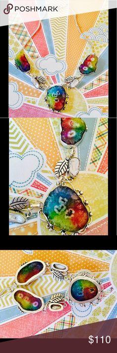 Rainbow Solar Druzy Quartz & Biwa Pearl necklace ☀️✨ Bright & Beautiful  Rainbow Druzy solar Quartz necklace set in silver embellished with #Boho styled feathers & Biwa Pearls  Jewelry Necklaces