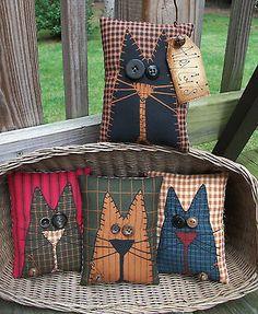 FOLK-Art-PrimiTive-Fall-ALLEY-CAT-Pillow-Bowl-Basket-Fillers-Buttons-DecoraTion