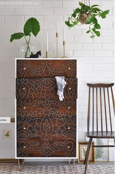 Boho Dresser Upcycle / Stencil, Drill  Holes, Hairpin Legs & knobs @thepaintedhive.net
