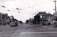 double streetcar lights at irving park rd and elston in 1948
