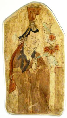 10th-11th C. ancient Uighur donor Bezeklik Buddhist wall mural, Cave 17. The site is complex of Buddhist cave grottos dating from the 5th to 14th century. The cave groups sit 45 kms away from Turpan city at the north-east of the Taklamakan Desert near the ancient ruins of Gaochang in the Mutou Valley, a gorge in the Flaming Mountains, China. The caves high on the cliffs of the west Mutou Valley under the Flaming Mountains date from the Uyghur Kara-Khoja kingdom around the 10th to 13th…