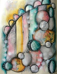 Watercolour and acrylic art journal page | Tracy Scott | Flickr