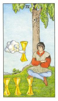 How to read the 4 four of cups tarot card in the minor arcana of the rider waite tarot Celtic Cross Tarot, What Are Tarot Cards, Tarot Gratis, Free Tarot Reading, Rider Waite Tarot, Online Tarot, Tarot Card Meanings, Tarot Readers, Tarot Spreads