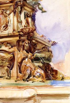 The Great Fountain of Bologna, 1906, John Singer Sargent