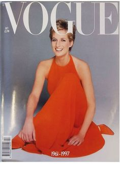 In a front page tribute to Diana in Vogue in October 1997, after the Princess of Wales was killed in a car accident in August. Image by Patrick Demarchelier in 1994.