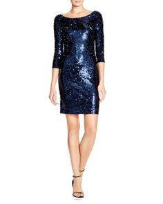 Laundry by Shelli Segal Three-Quarter Sleeve Sequin Dress | Bloomingdale's