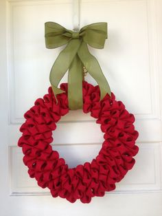 Red Burlap Christmas Wreath with Green by TheCraftySugarsnip, $60.00