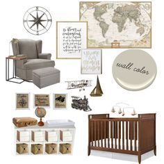 Vintage Travel Nursery by kailyn-marie-1 on Polyvore featuring interior…