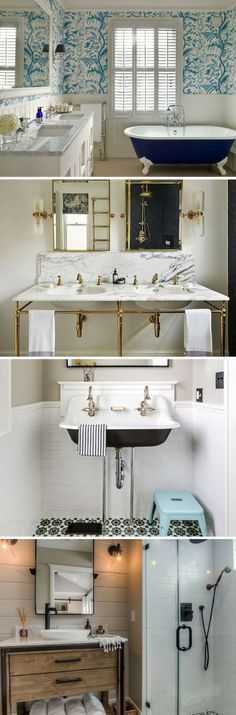 If you are looking for bathroom design ideas to bring your powder room up to date, these are the design trends to follow. Everything from funky wallpaper to interior concrete, these are the bathroom decor ideas that will turn your bathroom into an oasis. #bathroomideas #bathroomdesign #bathroomdecor #bathroomremodel #designtips #bathrooms #bathroom #designtrends #concrete #wallpaper #bucketsinks #designtips  #realtordotcom