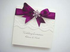 DIY wedding invitation- using blue ribbon instead Red Bouquet Wedding, Purple Wedding Invitations, Wedding Stationary, Card Box Wedding, Diy Wedding, Dream Wedding, Wedding Ideas, Wedding Themes, Trendy Wedding