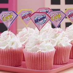 Ginger Ray Pink Superhero Party Cupcake / Food Picks